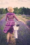 Woman in Purple Dress and Hat with Retro Bicycle in Lavender Field Print by NejroN Photo
