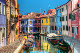 Colorful Houses and Canal on Burano Island, near Venice, Italy. Sunny Day. Reproduction photographique par Michal Bednarek
