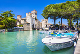 Medieval Castle Scaliger in Old Town Sirmione on Lake Lago Di Ga Photographic Print by  Maugli-l