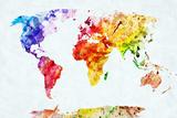 Watercolor World Map. Colorful Paint on White Paper. HD Quality Affiches par Michal Bednarek