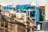 Aerial View of Beaubourg Area with the Pompidou Center Museum   Cityscape of Paris in France Fotografisk trykk av  OSTILL