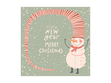 Merry Christmas and a Happy New Year Cartoon Card in Vector. Childish Background with Funny Snowman Prints by  smilewithjul