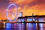 London, England the UK Skyline in the Evening. Ilumination of the London Eye and the Buildings Next Reproduction photographique par Michal Bednarek