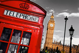 Red Telephone Booth and Big Ben in London, England, the Uk. the Symbols of London on Black on White Reproduction photographique par Michal Bednarek