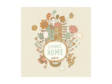 Sweet Home. Concept Vector Background with Houses, Bird, Sun, Car, Dog, Rainbow, Clouds and Flowers Posters by  smilewithjul