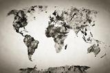 Watercolor World Map. Black and White Paint on Paper, Retro Style. HD Quality Reproduction photographique par Michal Bednarek