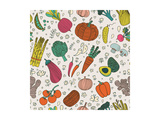 Bright Tasty Seamless Pattern with Green Peas, Eggplant, Potato, Carrot, Pumpkin, Avocado, Leek, Ra Poster by  smilewithjul