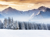 Fantastic Evening Winter Landscape. Dramatic Overcast Sky. Creative Collage. Beauty World. Photographic Print by Leonid Tit