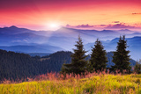 Majestic Morning Mountain Landscape with Colorful Cloud. Dramatic Sky. Carpathian, Ukraine, Europe. Photographic Print by Leonid Tit