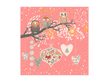 Cute Christmas Background with Funny Owls on the Branch and Balls. Happy New Year with Tree, Candy, Prints by  smilewithjul