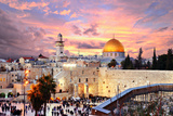 Skyline of the Old City at He Western Wall and Temple Mount in Jerusalem, Israel. Photographic Print by  SeanPavonePhoto
