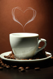 Cup Of Coffee With Smoke In Shape Of Heart On Brown Background Láminas por  Yastremska