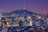 Downtown Skyline of Seoul, South Korea with Seoul Tower. Photographic Print by  SeanPavonePhoto
