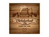 Oktoberfest, Vintage Poster With Wooden Background Premium Giclée-tryk af  Pagina