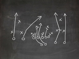Football Play Strategy Drawn Out On A Chalk Board Kunst von  Phase4Photography