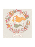 Cute Vector Background with Beautiful Mermaid in Flowers with Place for Text. Retro Style Card. Posters by  smilewithjul
