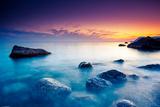 Majestic Summer Sunset over the Sea. Dramatic Sky. Crimea, Ukraine, Europe. Beauty World. Photographic Print by Leonid Tit