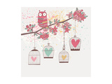 Bright Summer Illustration with Owl, Branch and Cages in Vector. Romantic Cartoon Background in Pas Prints by  smilewithjul
