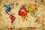 Vintage wereldkaart Posters van Michal Bednarek