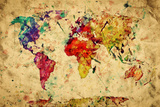 Vintage World Map Prints by Michal Bednarek