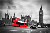 London, the Uk. Red Bus in Motion and Big Ben, the Palace of Westminster. the Icons of England Fotografie-Druck von Michal Bednarek