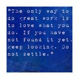 Inspirational Quote By Steve Jobs On Earthy Blue Background Metalltrykk av  nagib