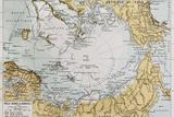 Arctic Old Map. By Paul Vidal De Lablache, Atlas Classique, Librerie Colin, Paris, 1894 Kunstdrucke von  marzolino