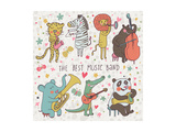 Animals - Musicians. Leopard, Zebra, Panda, Bear, Lion, Elephant, Crocodile are Playing on Classica Prints by  smilewithjul