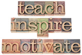 Teach, Inspire, Motivate - A Collage Of Isolated Words In Vintage Letterpress Wood Type Kunst von  PixelsAway