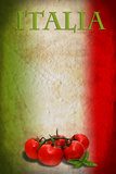 Traditional Italian Flag With Tomatoes And Basil Poster by  pongiluppi
