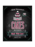 Cakes Poster - Chalkboard Kunstdruck von  avean