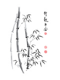 Bamboo Ink Painting And Calligraphy Kunstdrucke von  yienkeat