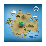 Pirate Treasure Map Metalltrykk av  miskokordic
