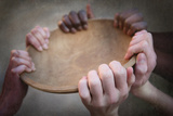 Grunge Image of Many Hands Holding an Empty Bowl Photographic Print by  soupstock