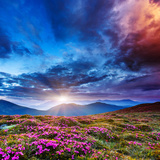 Majestic Sunset in the Mountains Landscape. Overcast Sky before Storm. Carpathian, Ukraine, Europe. Photographic Print by Leonid Tit
