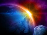 Planet Earth With Sunrise In Space Kunstdrucke von  alanuster