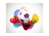 Abstract Colorful Football Banner Premium Giclee-trykk av  Slamer