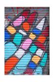 Graffiti On Rolling-Shutter In El Raval, Barcelona Posters av  dzain