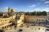 Western Wall and Dome of the Rock in the Old City of Jerusalem, Israel. Photographic Print by  SeanPavonePhoto