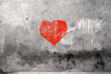 Red Heart Graffiti Over Grunge Cement Wall Poster tekijänä  Billyfoto