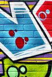 Graffiti Image On Brick Wall Fotografisk trykk av  sammyc