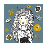 Beautiful Girl on Summer Floral Background Posters by  smilewithjul
