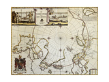 North Pole And Adjoining Lands Old Map. Created By Moses Pitt, Published In Oxford, 1680 Premium Giclee-trykk av  marzolino