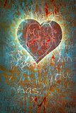 Colorful Grunge Background With Graffiti, Writings, A Heart And A Slight Vignette Póster por  ccaetano