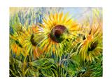 The Sunflowers Drawn By Gouache On A Paper Kunstdrucke von  balaikin2009