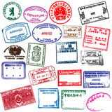 Various Visa Stamps From Passports From Worldwide Travelling Affiches par VECTOR HERE