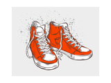 Hand-Drawn Sneakers Premium Giclee Print by  aggressor