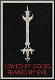 Loved By Good Feared By Evil Retro Stampa montata