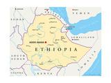 Ethiopia Political Map Giclée-Premiumdruck von Peter Hermes Furian