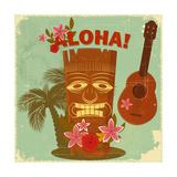 Vintage Hawaiian Postcard Metalltrykk av  elfivetrov